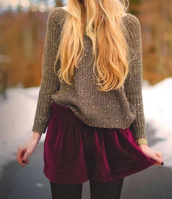 Sweater & Maroon Skirt