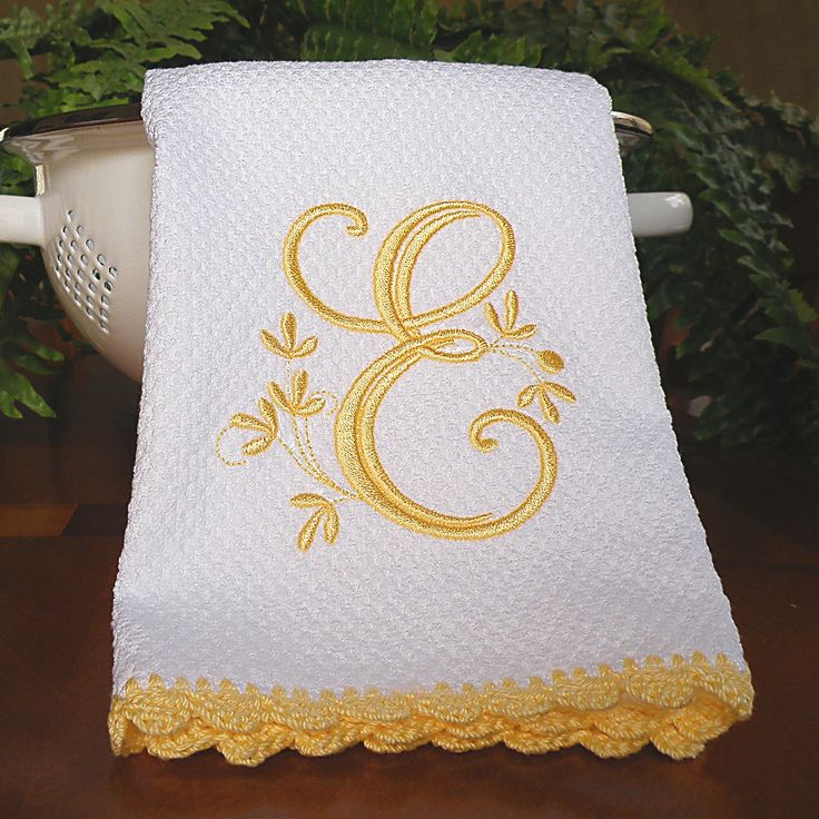 Crocheting Dish Towels : Dish Towel, Monogrammed Kitchen Towel Yellow Crocheted Edge Towel ...
