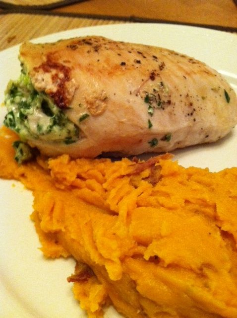 ... Scallion, Spinach Stuffed Chicken Breast with Mashed Sweet Potatoes