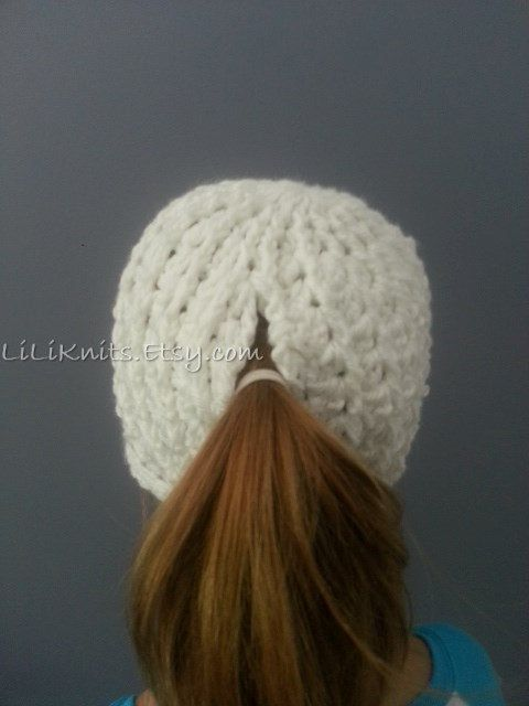 Crochet Crocheted Knit Knitting Ponytail Hat Beanie Cap Child Girl Kid