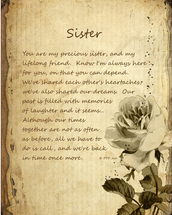 Gift sister poem 5x7 matted print home decor art print neutral color
