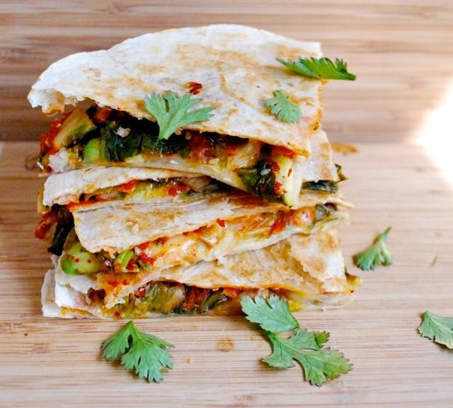 Kimchi and Avocado Quesadillas
