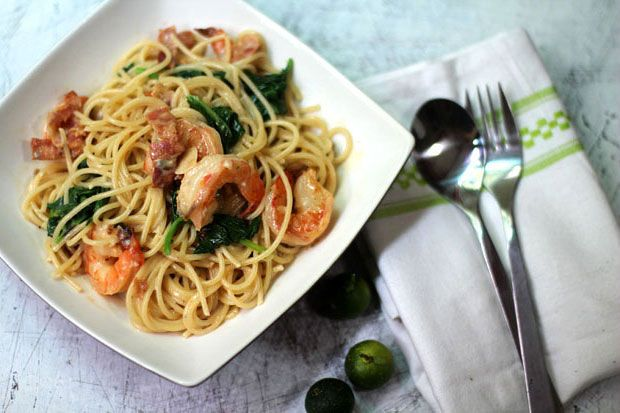 Pasta with Shrimp, Bacon and Spinach in a Gorgonzola Cream Sauce ...
