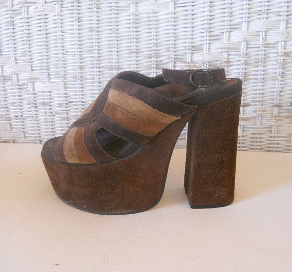 vintage platform shoes suede sandals mod leather rocker