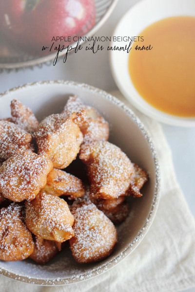 cinnamon beignets with apple cider caramel dipping sauce