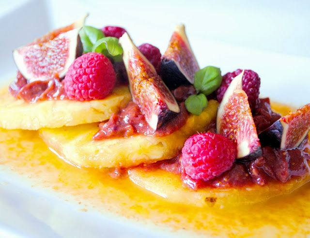 Marinated Pineapple Slices with Fig and Raspberry Jam
