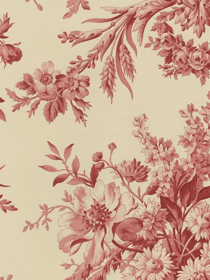 Burgundy SH80401 Floral Toile Wallpaper
