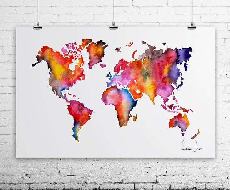 WATERCOLOR MAP World Map Painting POSTER by WatercolorPrint art
