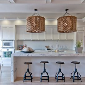 Contemporary kitchen by green couch interior design featuring white