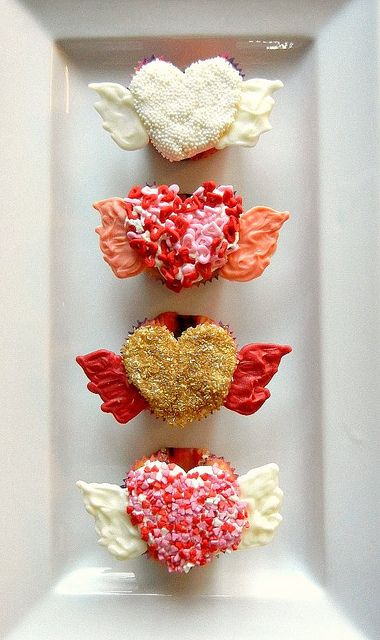 flying valentines day cupcakes by sugarswings, via Flickr