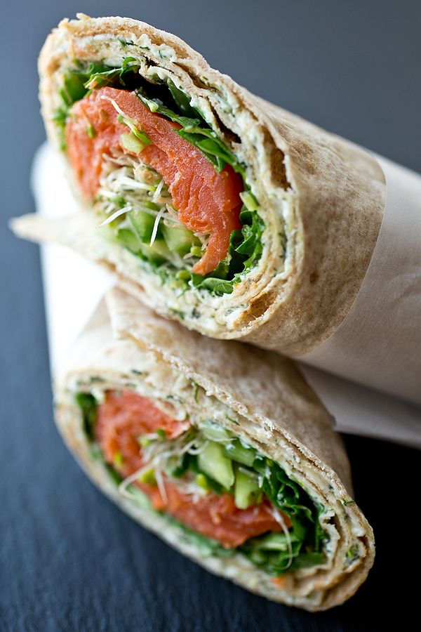 Smoked Salmon Lavash Wrap with Spicy Greens, Fresh Cucumber and Sprouts with Savory Lemon-Dill Cream Cheese Spread