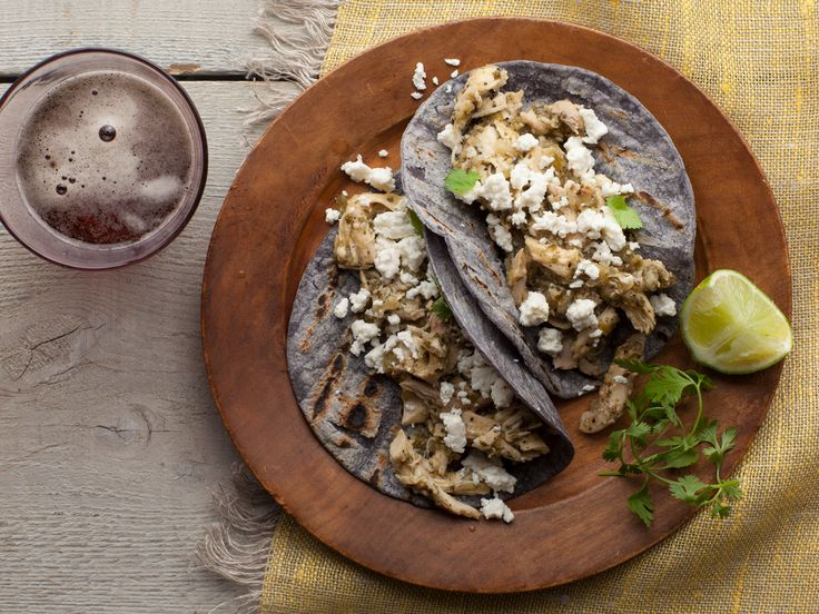 Shredded Chicken and Tomatillo Tacos with Queso Fresco Recipe : Bobby ...