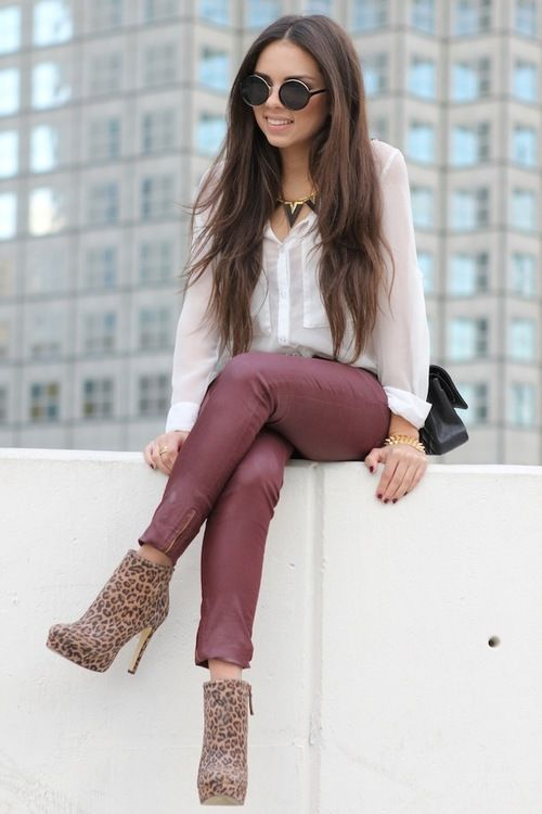red leather pants white blouse shirt top leopard print heels boots sunglasses girl woman style fashion brown long hair