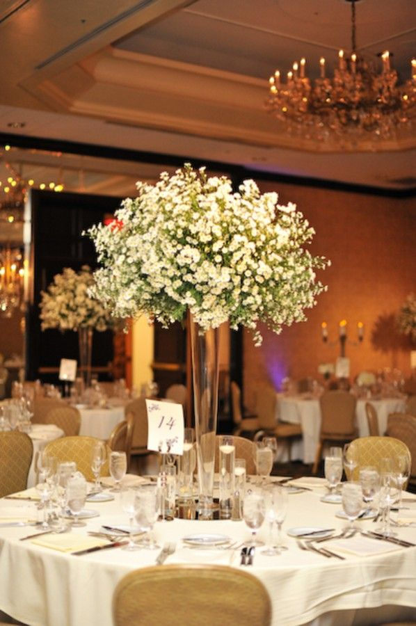 Tall babys breath cloud wedding centerpiece