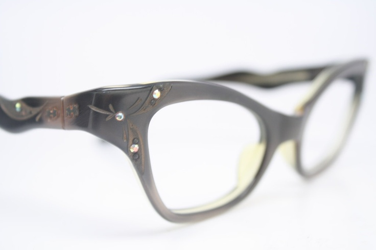 Cat Eye Rhinestone Eyeglass Frames : Vintage Glasses Rhinestone Cat Eyeglasses Frames cat eye ...