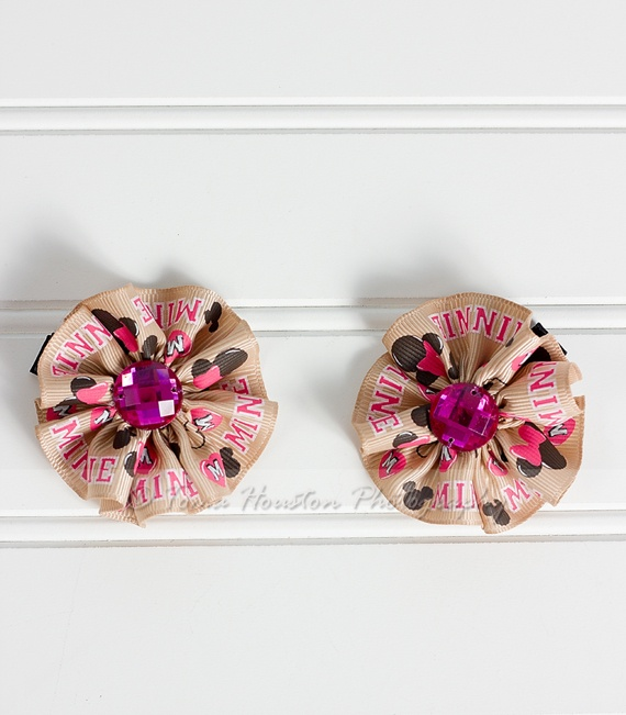 Minnie Mouse Flower Hair Clips, Tan, Hot Pink, Black- Set of 2, Toma's ...