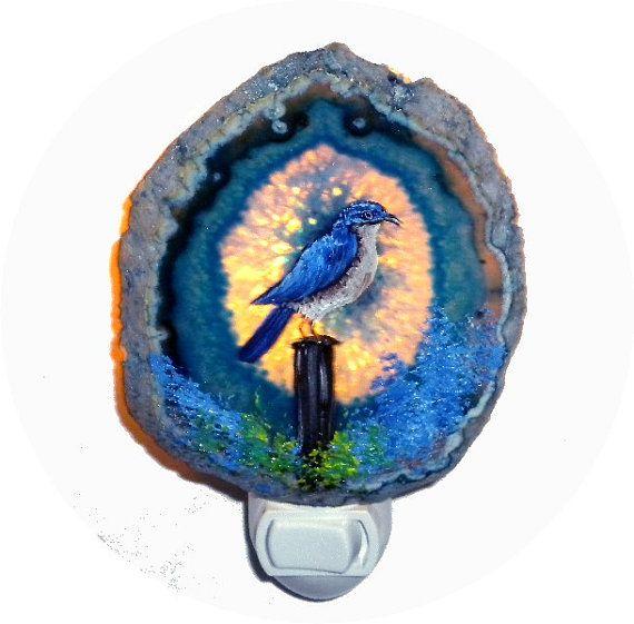 Decorative agate night light blue bird - Birdhouse nightlight ...
