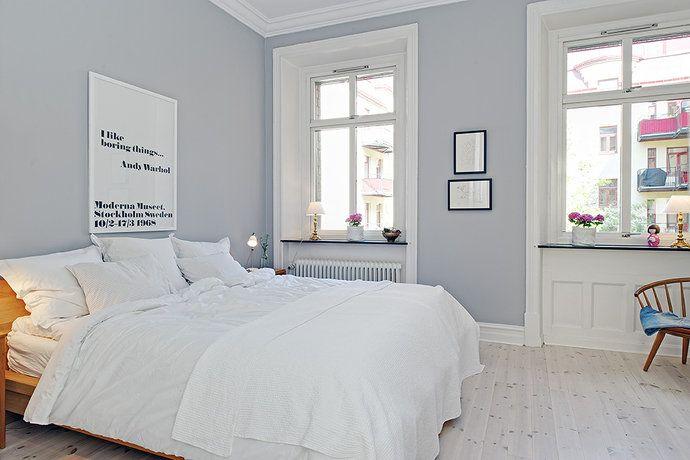 Sovrum - gråblå väggfärg  Bedroom  Pinterest