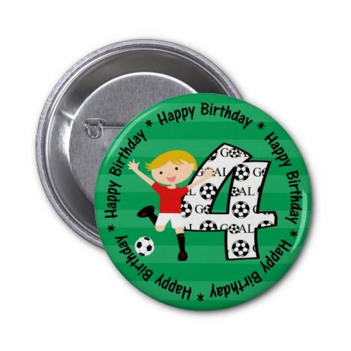 Happy 4th Birthday Soccer Goal Button