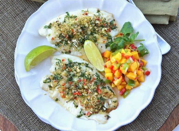 ... : Coriander And Lime-Crusted Tilapia Fish With Mango Salsa
