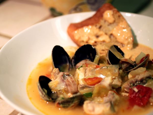 Bouillabaisse (Provençal-Style Fish Soup) with Croutons and Rouille