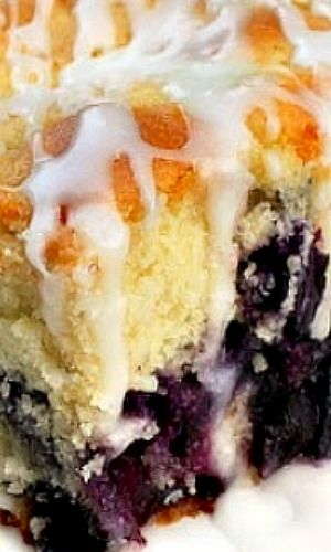 Melt In Your Mouth Blueberry Cake with Lemon Glaze | Pinterest