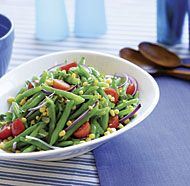 Green Bean Salad with Corn, Cherry Tomatoes & Basil Delicious! Made ...
