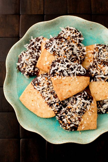 Chocolate Dipped Toasted Coconut Shortbread | Annie's Eats by ...