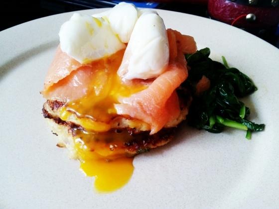 Poached egg, salmon, quinoa cakes   Brunch   Pinterest