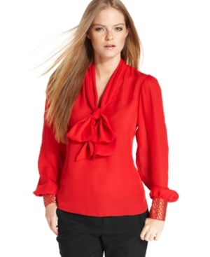 Wrapped in a Bow. Make a statement with this blouse! <3    Vince Camuto Top, Long-Sleeve Studded Bow Blouse - Buy it here: https://www.lookmazing.com/products/show/1805124