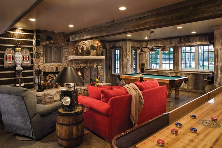 rustic walkout basements | ... Homes » ... | Rustic Lake House Game R…
