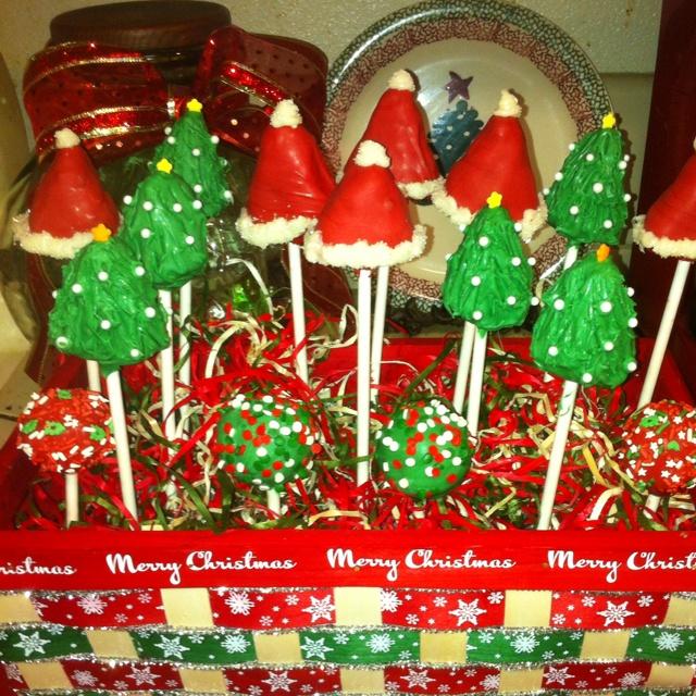 Christmas Cake Pop Ideas Pinterest : Christmas cake pop basket :) Deck the Halls Pinterest