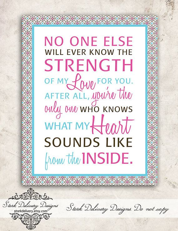 Pink And Teal Baby GIrl Nursery Art No One Knows The