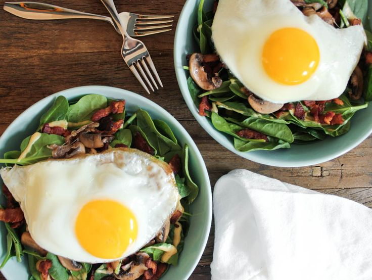 Warm Spinach Salad with Bacon Vinaigrette and a Fried Egg   Recipe
