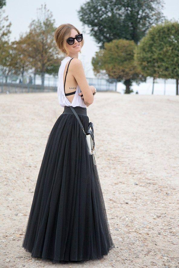 Chaira Ferragni, blogger Alberta Ferretti top with a Salvatore Ferragamo skirt. Bag is by Phillip Lim