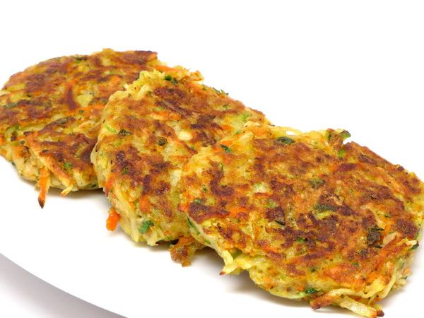 Potato Pancakes -- include zucchini, carrots, onions, and eggs