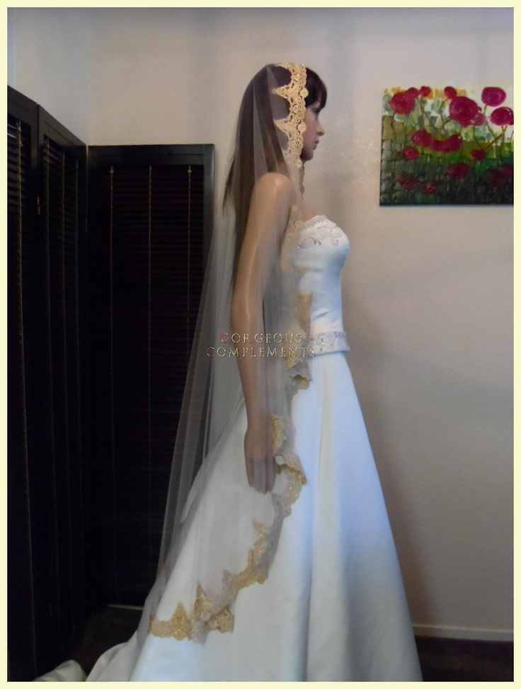 waltz gold and champagne mantilla bridal veil amazing embroidered lace