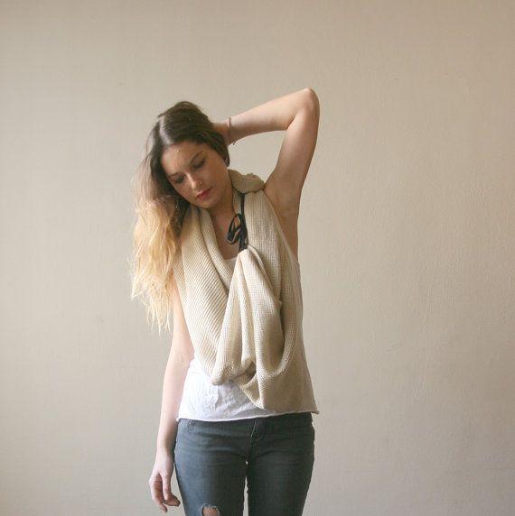 Chanky scarf beige cream loop scarf spring fashion