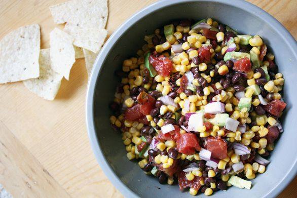 canned beans tomatoes frozen corn and avocados just mix and chill