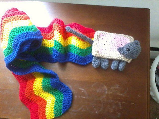 Nyan/Poptart Cat Scarf pattern by Kelley Freeman