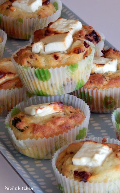 Feta cheese and sun dried tomato muffins
