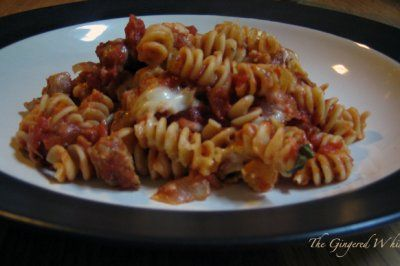 Baked Pasta with Sausage, Tomatoes and Cheese by The Gingered Whisk