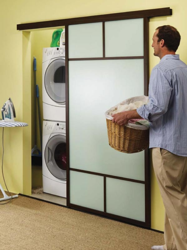 Laundry closet for when you don't have pocket doors and hate the ...