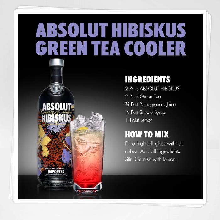 Absolut Hibiskus Green Tea Cooler   I'll Drink to That!   Pinterest