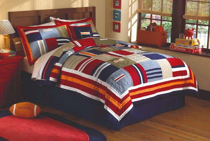 Red Blue Army Patchwork Teen Boy Bedding quilt and 2 shams (SALE $129 ...