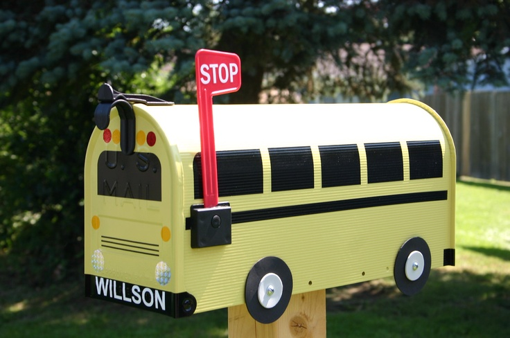 School Bus Mailbox by TheBusBox Custom READY TO SHIP - Back to School. $99.00, via Etsy.