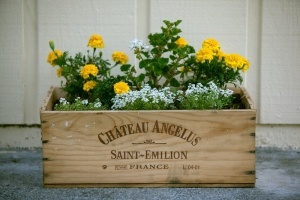 I (heart) wine boxes.  and flowers too!