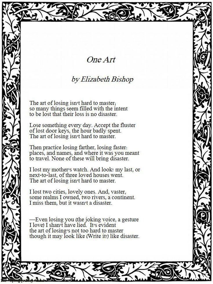 one art essay One art essays for ba level one art by elizabeth bishop.