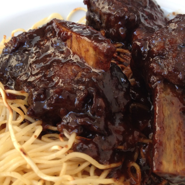 Red wine braised short ribs. Took hours to make but it's so worth it!