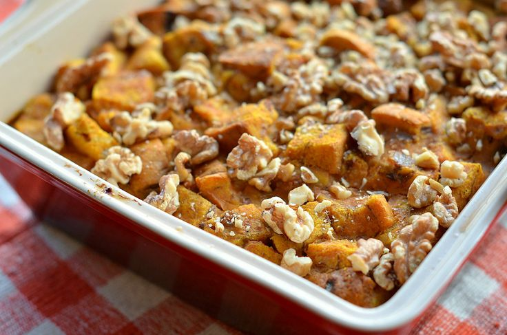 Pumpkin Bread Pudding With Caramel Sauce from @ThreeManyCooks feels ...